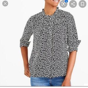 J crew mercantile black and white heart blouse